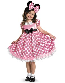 Disfraz de Minnie Mouse Clubhouse Rosa brillante en la oscuridad para niña
