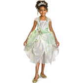 Disfraz de Tiana brillante deluxe para niña