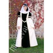 Mittelalter Kleid Blanca: Samt und Brokat