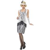 Disfraz de joven a la moda de los años 20 plateado