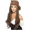 Peluca de pirata marrón para mujer