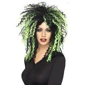 Peluca diabólica negra y verde