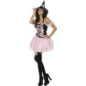 Disfraz de bruja rosa Fever para mujer