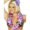 Collar hawaiano morado y rosa deluxe