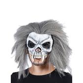 Media máscara calavera con pelo