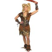 Disfraz de mujer cavernícola marrón