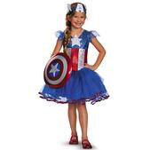 Disfraz de Capitán América tutu Prestige para niña