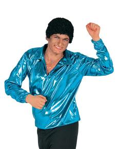 Camisa Disco Azul Turquesa para hombre