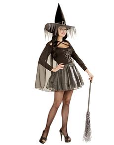 Disfraz de bruja destellos plateados para mujer