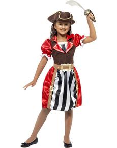 Disfraz de pirata roja para niña