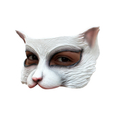 Media máscara de Kitty blanca de látex