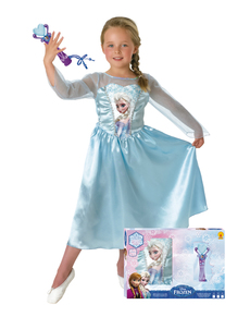 Disfraz de Elsa Frozen con micrófono en caja para niña
