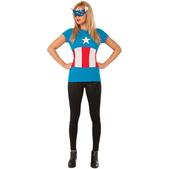 Kit disfraz de Capitán América Classic Marvel para mujer