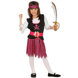 Disfraz de pirata de los mares fucsia para niña