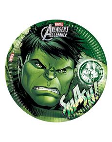 Set de 8 platos Hulk Los Vengadores Teen 23 cm