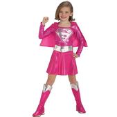 Fato de Supergirl cor-de-rosa para menina