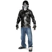 Fato de esqueleto motoqueiro para menino